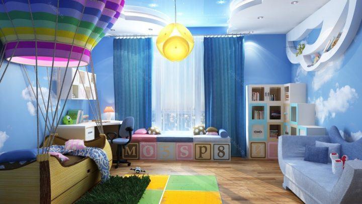 Потолок в детской комнате: яркие, современные идеи оформления потолка и варианты дизайна детской (90 фото)